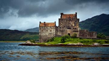 Картинка города замок эйлиан донан шотландия горы старинный озеро остров