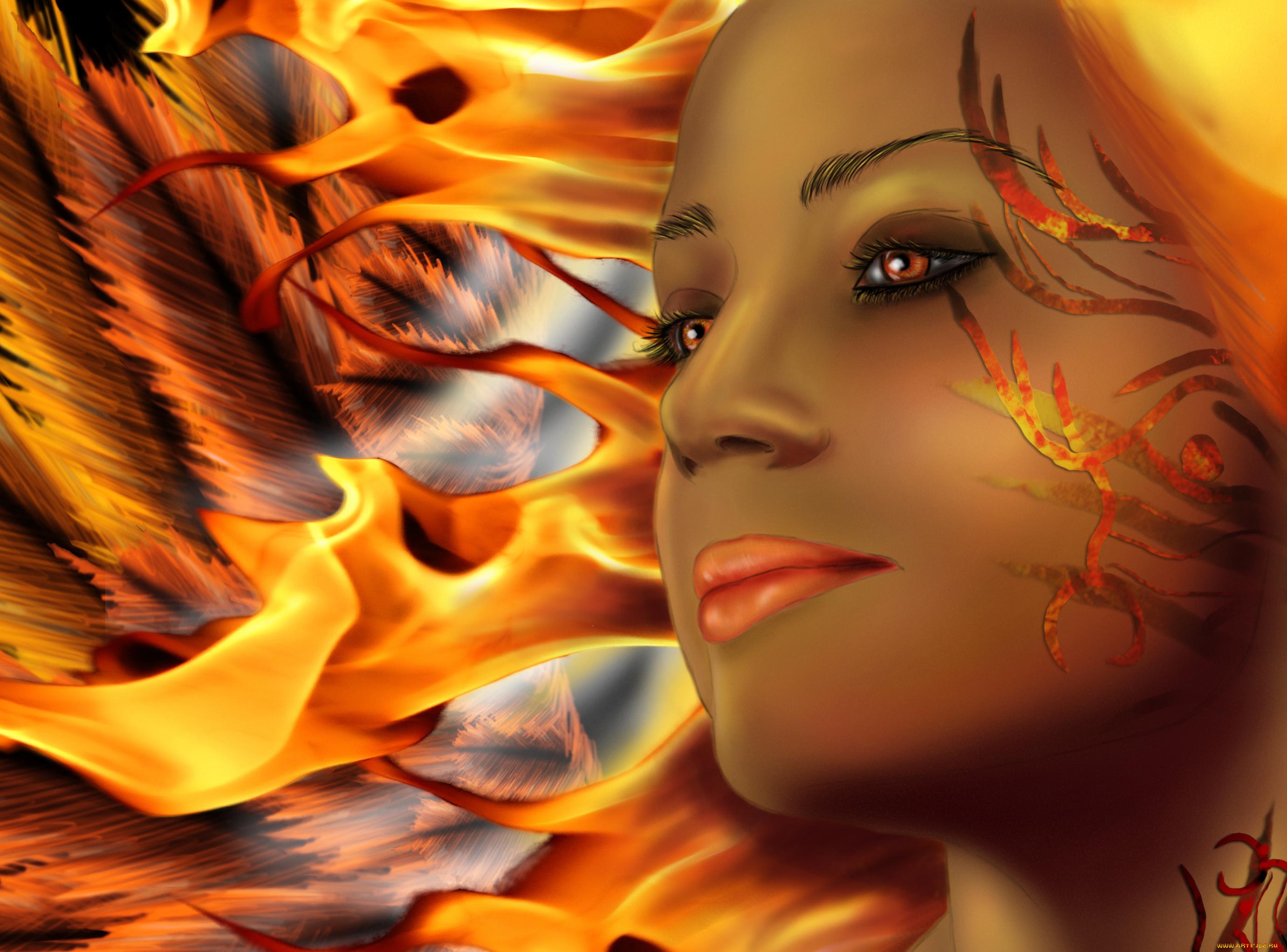 Девушка, огонь, взгляд скачать