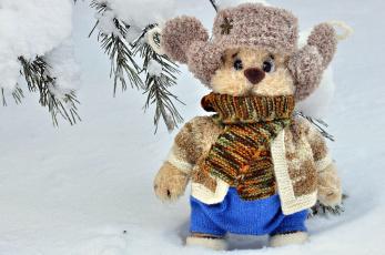 обоя разное, игрушки, игрушка, снег, шапка, шарф, зима