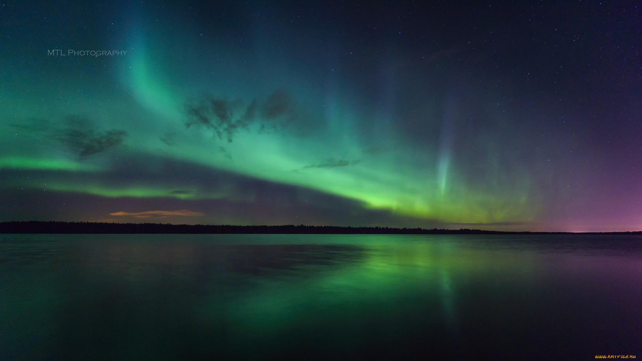 Сияние северное озеро вечер подборки