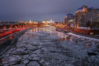 обоя moscow, города, москва , россия, река, ночь, мост