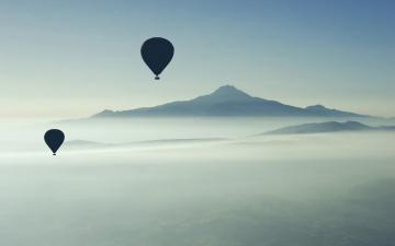 обоя авиация, воздушные шары, шары, полет, туман, горы, утро