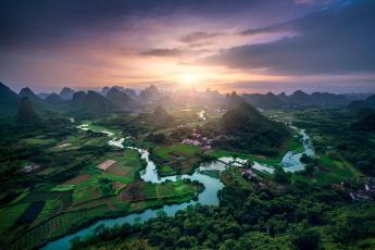 обоя города, - панорамы, река, небо, солнце, холмы, горы, китай