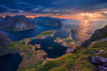 обоя города, - панорамы, норвегия, лофотенские, острова, море