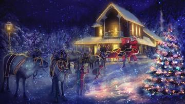 обоя праздничные, рисованные, дед, мороз, фон, упряжка, олень, ёлка
