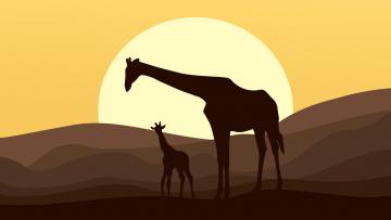 обоя векторная графика, животные , animals, жираф, закат