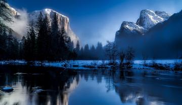 обоя природа, реки, озера, калифорния, вода, рассвет, скалы, yosemite, national, park, зима, туман, деревья, снег, горы, лес, сша