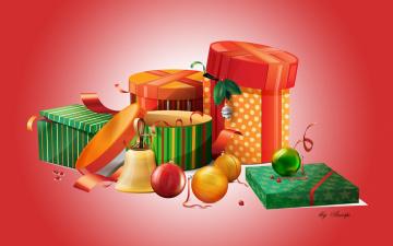 обоя праздничные, векторная графика , новый год, шары, подарки