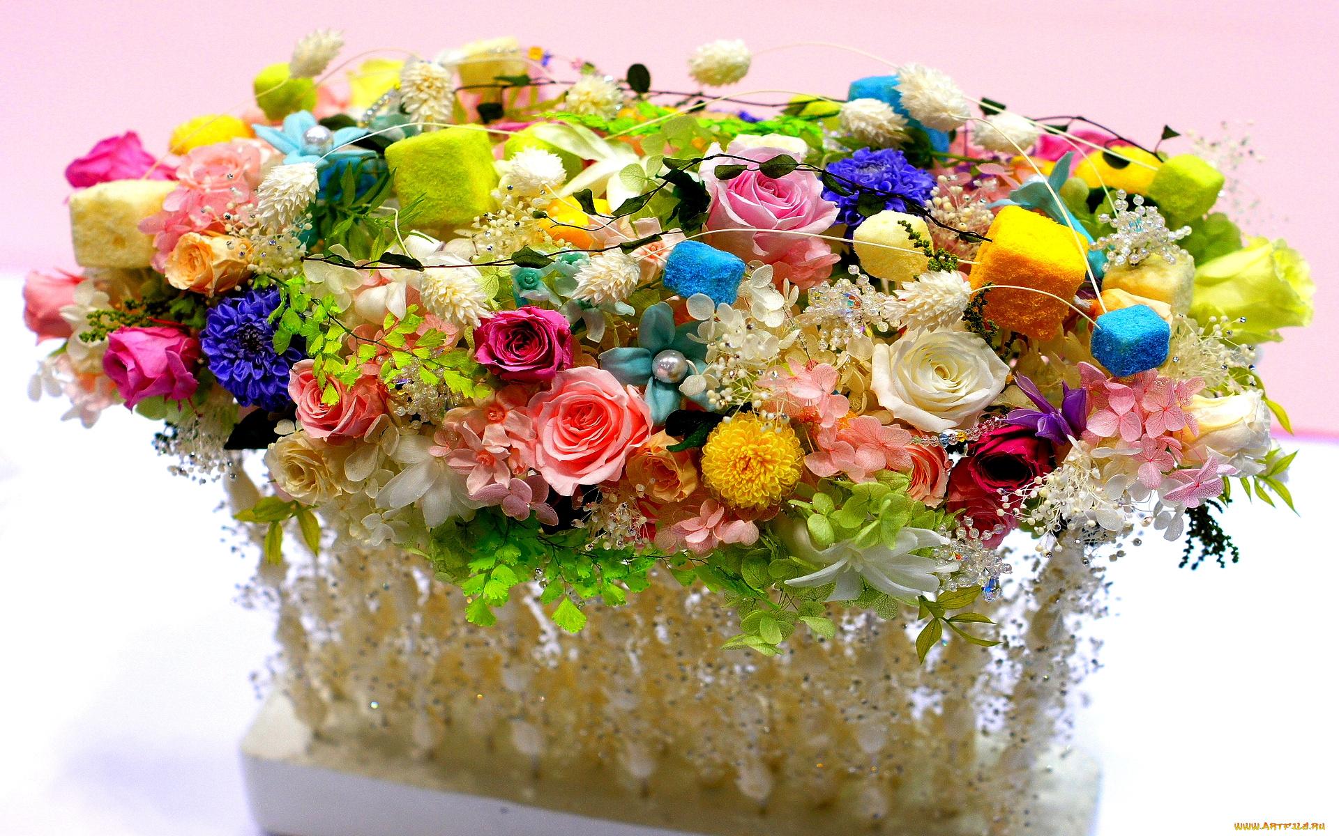 Креативная открытка с цветами, марта дочери