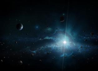 Картинка космос арт звезда астероиды планета свет
