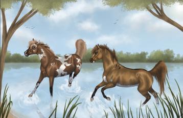 обоя рисованное, животные,  лошади, лошади