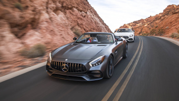 обоя mercedes-benz amg-gt and gt-c roadsters 2018, автомобили, mercedes-benz, amg-gt, gt-c, roadsters, 2018