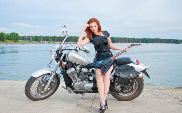 обоя мотоциклы, мото с девушкой, девушка, с, мотоциклом, и, гитарой