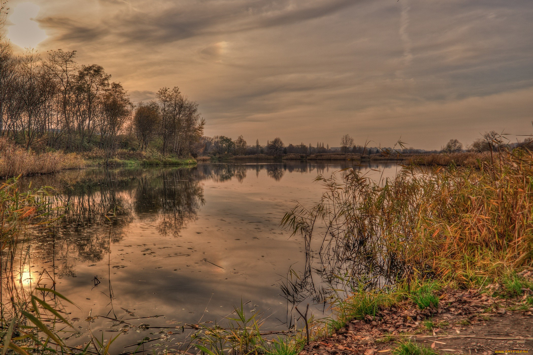 закат озеро осень трава  № 1020815 бесплатно