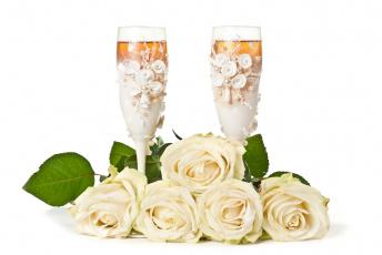 Картинка еда напитки шампанское розы цветы праздник фужеры свадьба