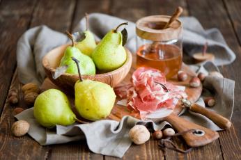 Картинка еда натюрморт мёд груши хамон орехи