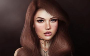 обоя 3д графика, портрет , portraits, взгляд, глаза, фон, лицо, девушка, губы