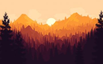 обоя векторная графика, природа , nature, закат, лес, горы