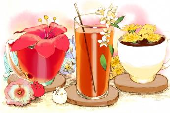 обоя аниме, животные,  существа, цветок, существа, чашки, стакан, красный, подставки, сок, птенцы, напиток, соломинка