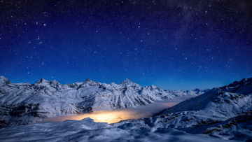 обоя природа, горы, stars, light, pennine, alps, sky, snow, gornergrad, winter, lagoon, nebula, gorner, glacier, night, switzerland, zermat
