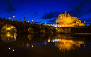 обоя города, рим,  ватикан , италия, небо, река, тибр, замок, святого, ангела, мост, облака