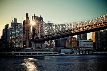 Картинка new york города нью йорк сша горд здания река мост солнце лучи