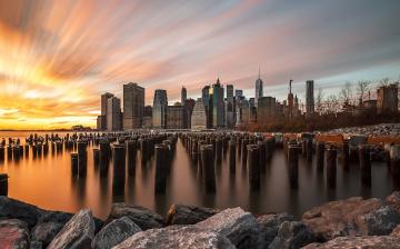 обоя города, нью-йорк , сша, нью, йорк, небо, выдержка, город