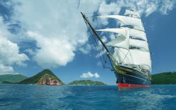 обоя корабли, парусники, небо, море, острова, паруса