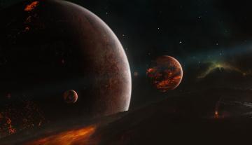 Картинка космос арт планеты звездная система