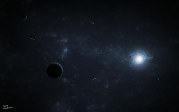 Картинка космос арт пространство планеты кометы