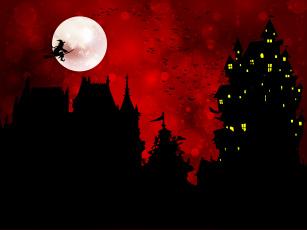 Картинка праздничные хэллоуин луна птицы баба-яга замок