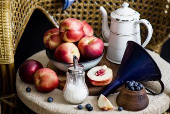 обоя еда, фрукты,  ягоды, сахар, нектарин, персик, черника