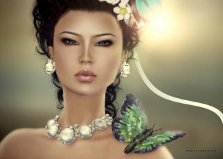 Картинка 3д графика portraits портрет бобочка колье