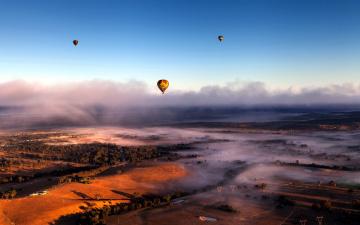обоя авиация, воздушные шары, панорама, небо, туман, облака