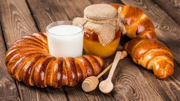 Картинка еда разное молоко мед булки выпечка