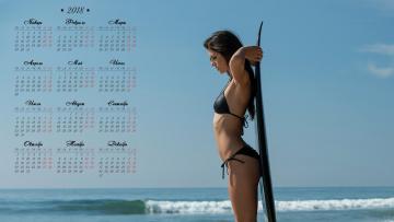 Картинка календари девушки водоем купальник доска