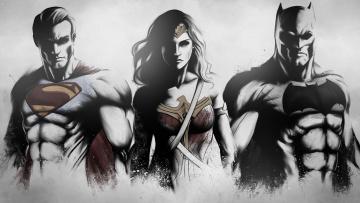 обоя рисованное, комиксы, batman, wonder, woman, superman