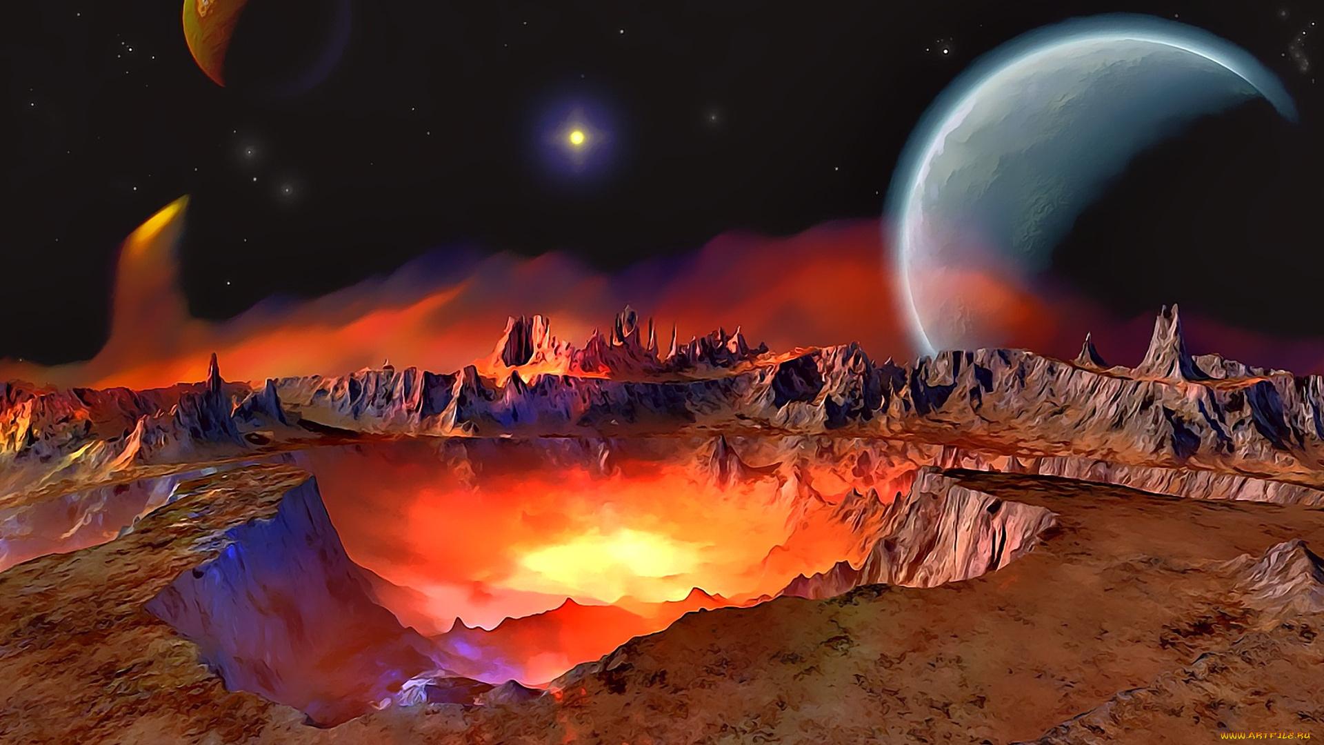 фото большие планеты фантастика освещение коридоре