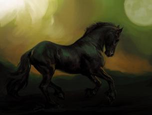 Картинка рисованные животные +лошади фон лошадь