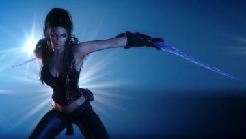 Картинка 3д+графика фантазия+ fantasy доспехи фон оружие взгляд девушка
