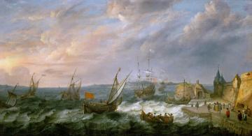 Картинка adam+willaerts рисованное живопись картина морской порт люди шторм море пейзаж