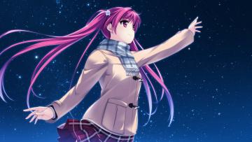 Картинка аниме unknown +другое miagete goran yozora no hoshi wo арт девочка ночь звёздное небо houkiboshi hikari