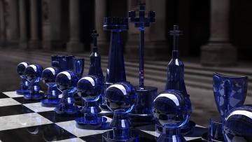 обоя разное, настольные игры,  азартные игры, chess, set, blue, side, kjasi, rendering, glass, шахматы, игра, стратегия, фигуры, пешки, синее, стекло, доска, чёрное, белое