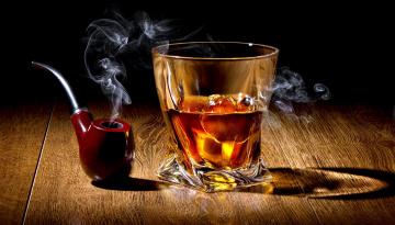 обоя еда, напитки, дым, лед, трубка, виски