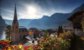 обоя города, гальштат , австрия, крыши, город, озеро, горы