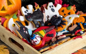 обоя праздничные, угощения, печенье, на, праздник, хэллоуин