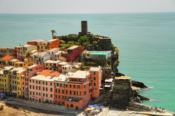 Картинка vernazza liguria италия города амальфийское лигурийское побережье море дома