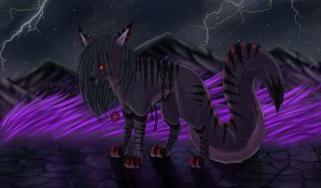 Картинка рисованное животные +сказочные +мифические взгляд медальен ночь горы молнии собака