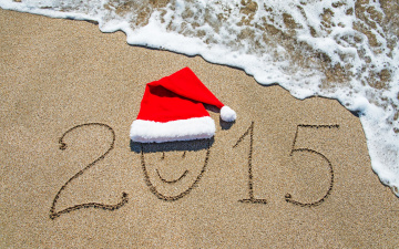 Картинка праздничные -+разное+ новый+год sea c новым годом santa hat sand beach море песок пляж 2015 new year happy