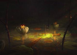 Картинка рисованное цветы озеро ночь цветок кувшинка мостик арт вода мост лес